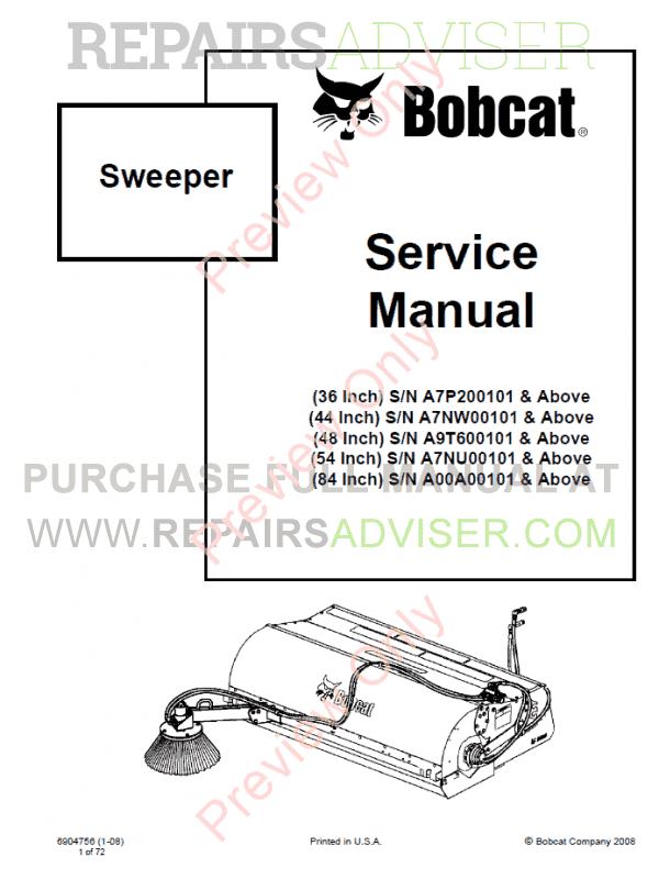 Bobcat Sweepers 36, 44, 48, 54, 84 Inch Service Manual PDF image #1