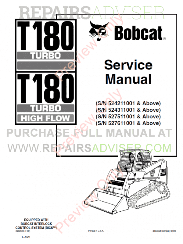 Bobcat T180 Turbo High Flow Loaders Service Manual PDF image #1