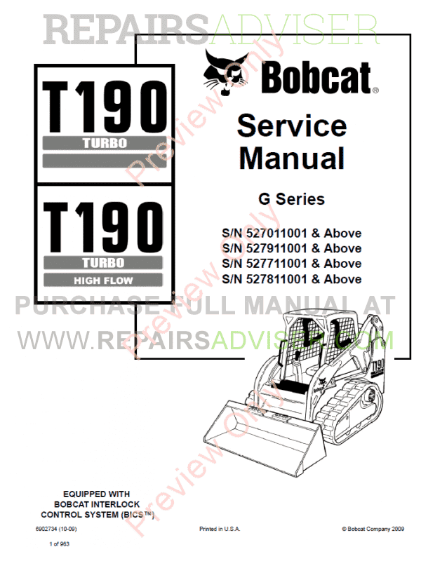 Bobcat T190 Turbo High Flow Compact Track Loader Service Manual PDF image #1