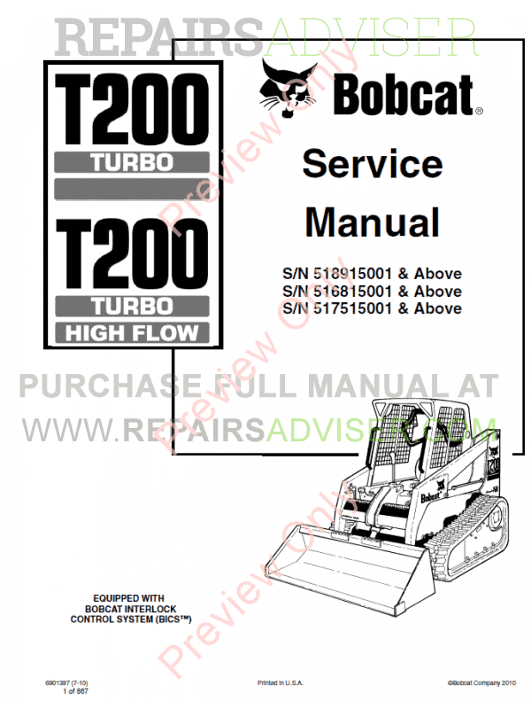 Bobcat T200 Turbo High Flow Loader Service Manual PDF image #1
