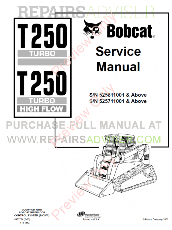 Bobcat T250 Turbo High Flow Loaders Service Manual PDF image #1