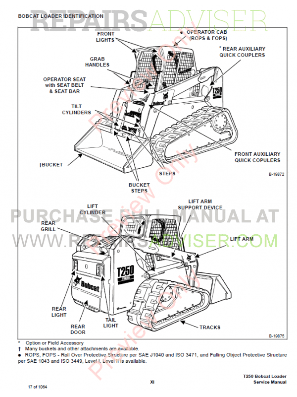 Bobcat T250 Turbo High Flow Loaders Service Manual PDF, Bobcat Manuals by www.repairsadviser.com