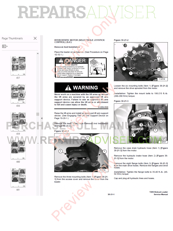 bobcat compact track loader t250 service manual 523111001 523011001 pdf