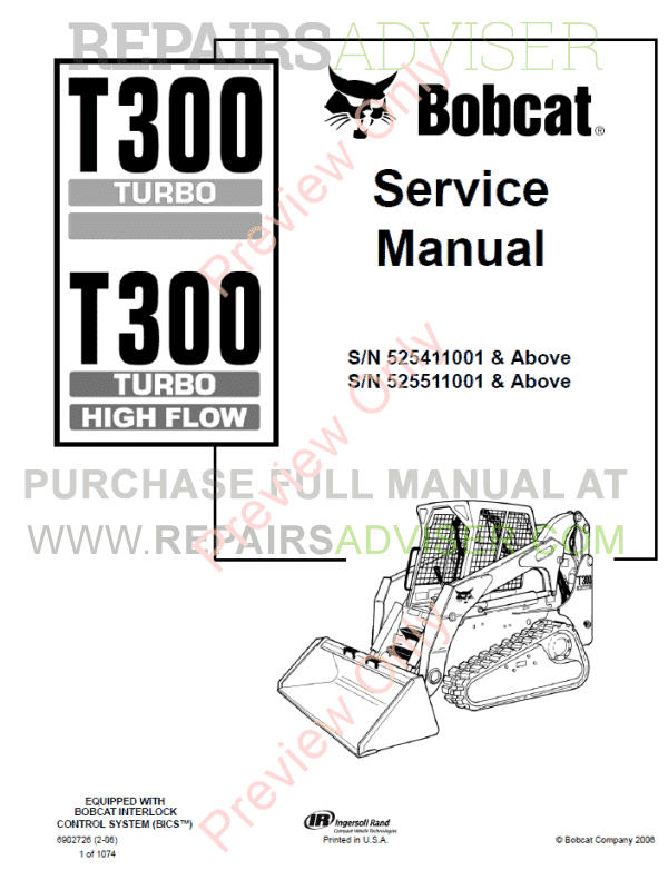 Bobcat T300 Turbo High Flow Loaders Service Manual Pdf