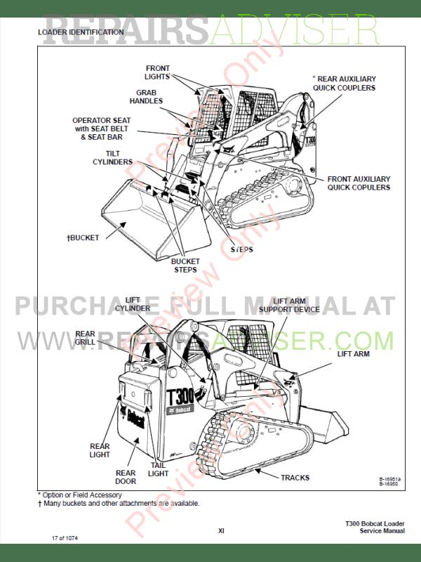 Bobcat T300 Turbo High Flow Loaders Service Manual PDF Download