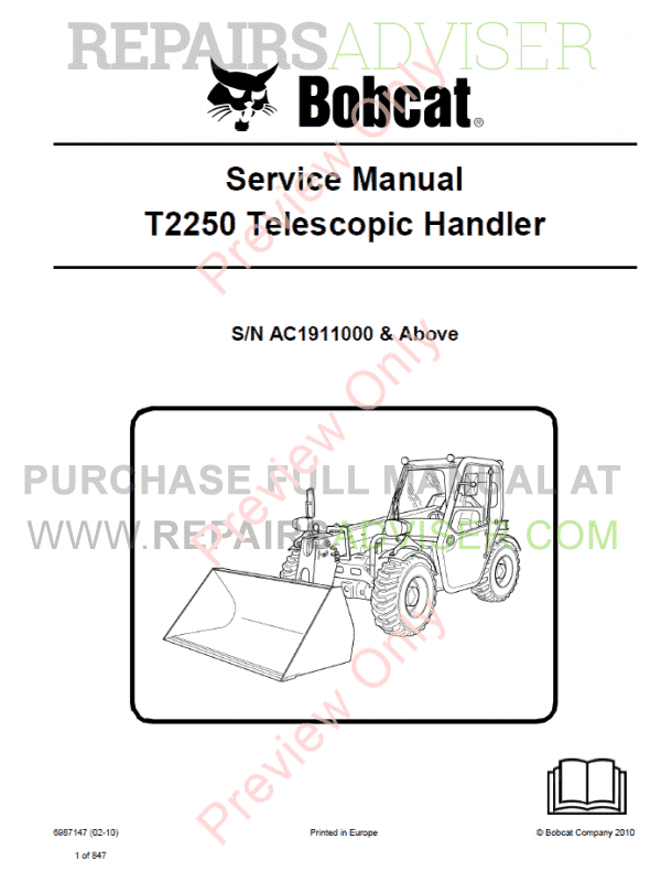 Bobcat Telescopic Handler T2250 Service Manual PDF