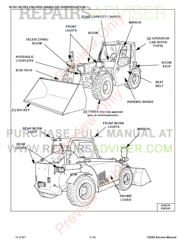 Bobcat Telescopic Handler T2250 Service Manual Pdf Download