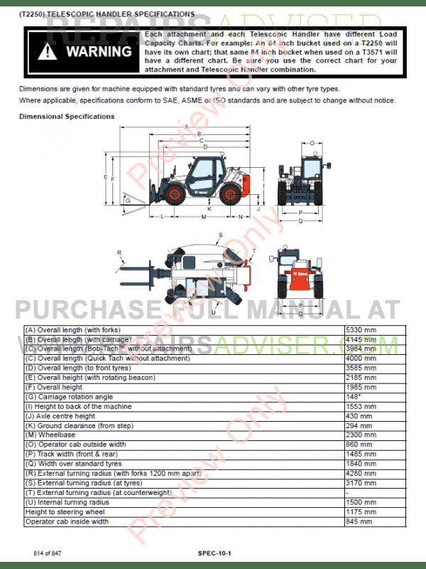 Bobcat Telescopic Handler T2250 Service Manual PDF Download