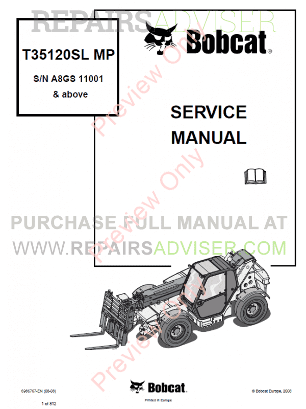 Bobcat Telescopic Handler T35120SL MP Service Manual PDF