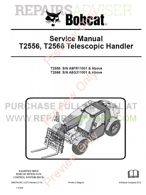 Bobcat Telescopic Handlers T2556, T2566 Service Manual PDF