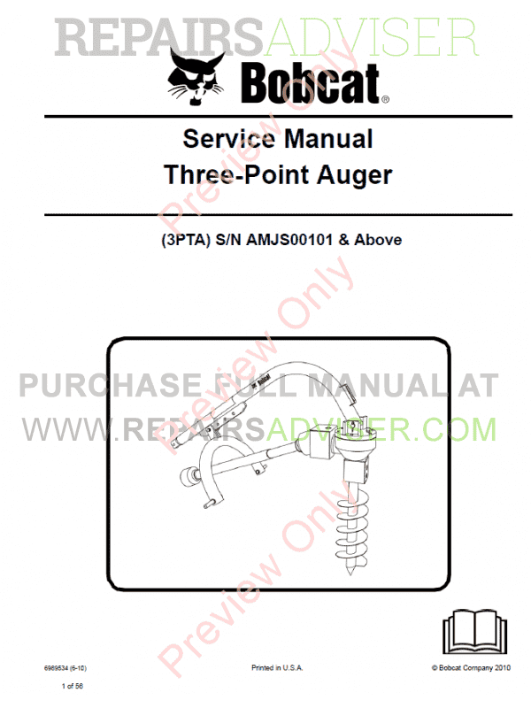 Bobcat Three-Point Auger Service Manual PDF