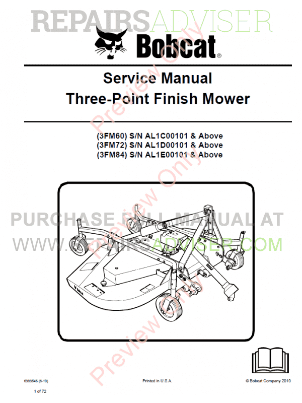 Bobcat Three-Point Finish Mower Service Manual PDF