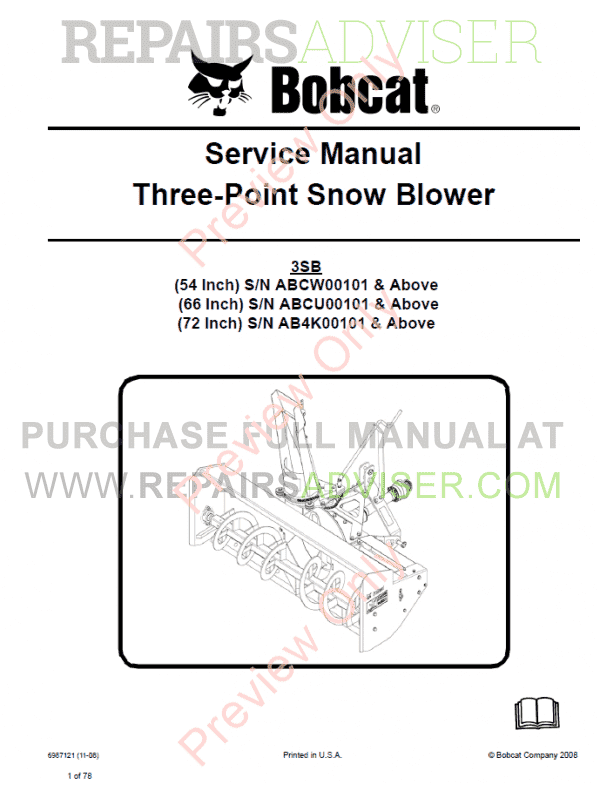 Bobcat Three-Point Snow Blower Service Manual PDF image #1