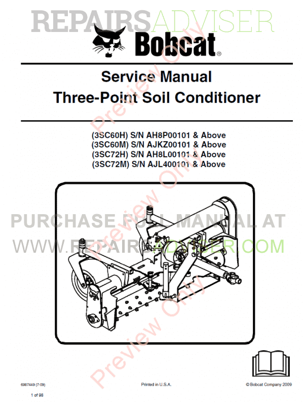 Bobcat Three-Point Soil Conditioner Service Manual PDF image #1