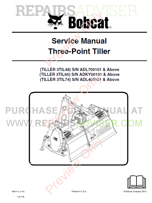Bobcat Three-Point Tiller Service Manual PDF image #1