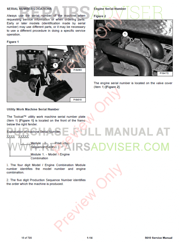 Bobcat Toolcat 5610 Utility Work Machine PDF Service Manual, Bobcat Manuals by www.repairsadviser.com