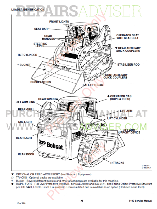 vi iii operation & t190  safety training course available from dealer  3  shipped via ups bobcat t compact track loader workshop repair download s/n