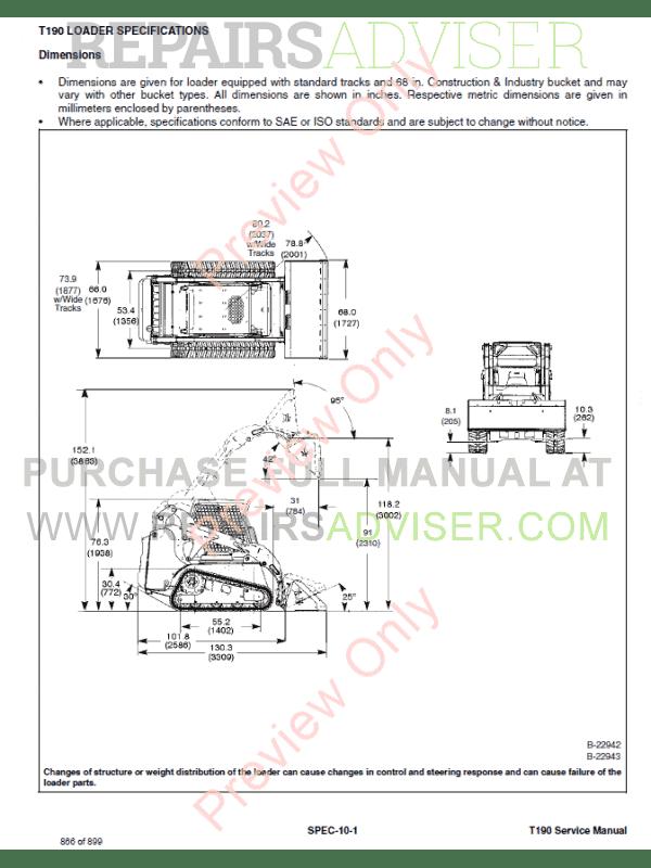 Bobcat T190 repair Manual