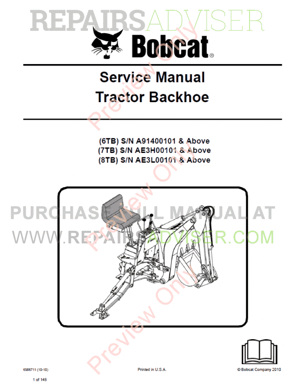 Bobcat Tractor Backhoe 6TB, 7TB, 8TB Service Manual PDF
