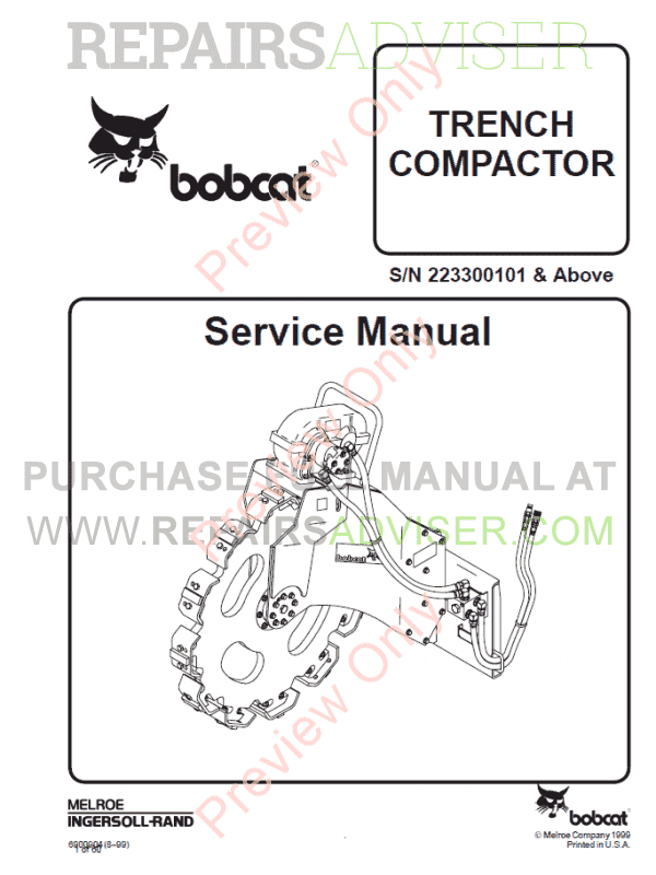 Bobcat Trench Compactor PDF Service Manual
