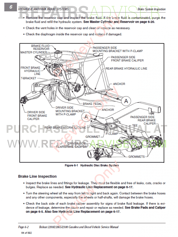 Bobcat Utility Vehicle 2200, 2200S, 2300 Service Manual PDF Download