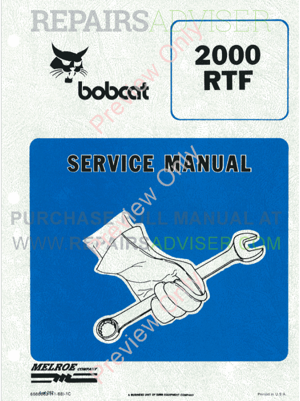 Bobcat Wheel Loader 2000 RTF Service Manual PDF