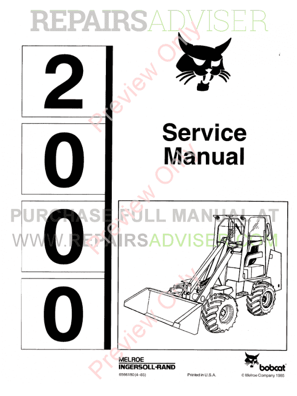 Bobcat Wheel Loader 2000 Service Manual PDF