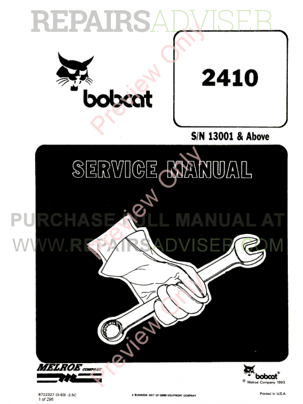 Bobcat Wheel Loader 2410 Service Manual PDF image #1
