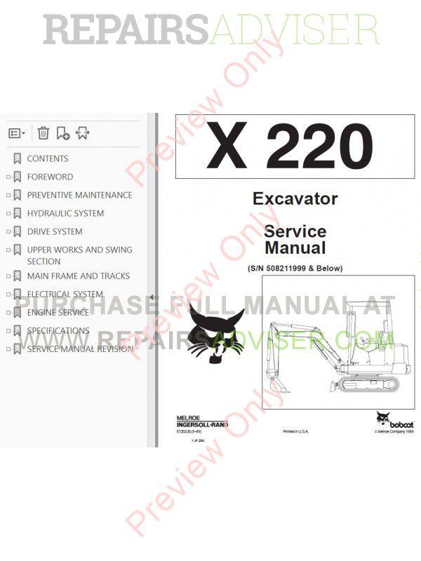 Bobcat X 220 Hydraulic Excavator Service Manual PDF