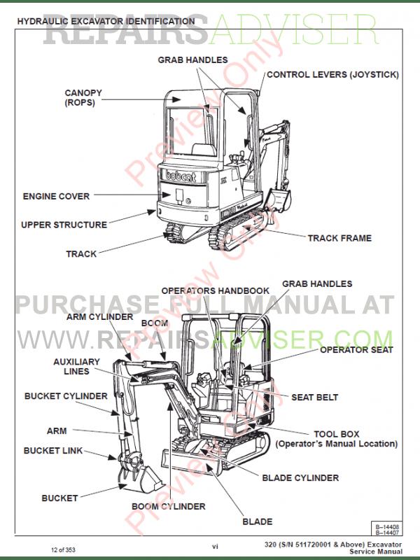 Bobcat X 320 Excavator Service Manual PDF Download