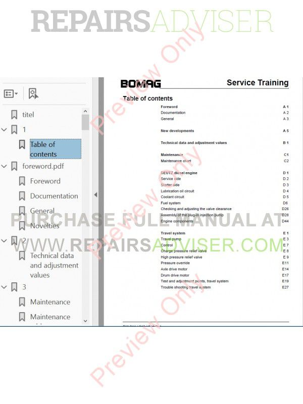Bomag BW 211 D-4, BW 213 D-4, BW 216 D-4 Single Drum Roller Service Training PDF, Manuals for Heavy Equip. by www.repairsadviser.com