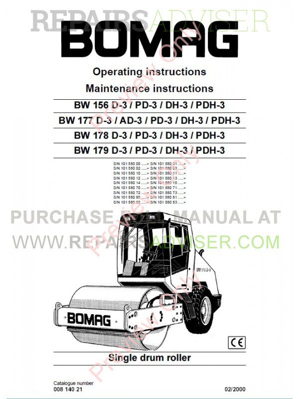 Bomag BW156/177/178/179 D-3/PD-3/DH-3/PDH-3 Single Drum Rollers Operating And Maintenance Instruction PDF image #1