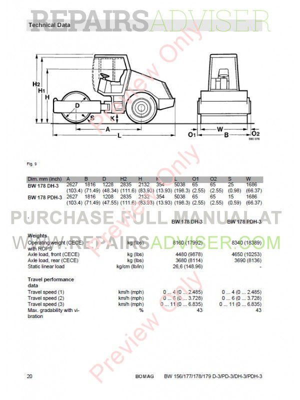 Bomag BW156/177/178/179 D-3/PD-3/DH-3/PDH-3 Single Drum Rollers Operating And Maintenance Instruction PDF, Manuals for Heavy Equip. by www.repairsadviser.com