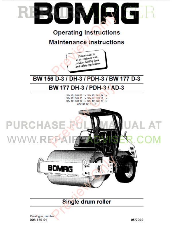 Bomag BW 156/177 D-3/AD-3/DH-3/PDH-3 Single Drum Rollers Operating And Maintenance Instruction PDF image #1