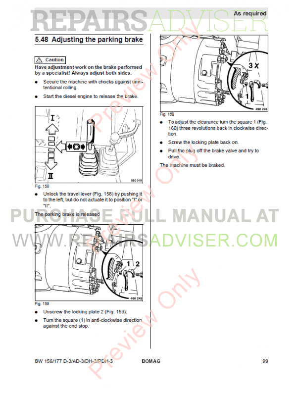 Bomag BW 156/177 D-3/AD-3/DH-3/PDH-3 Single Drum Rollers Operating And Maintenance Instruction PDF, Manuals for Heavy Equip. by www.repairsadviser.com