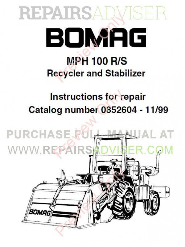 Bomag MPH 100 R, MPH 100 S Recycler and Stabilizer Parts List + Instructions for Repair PDF image #1