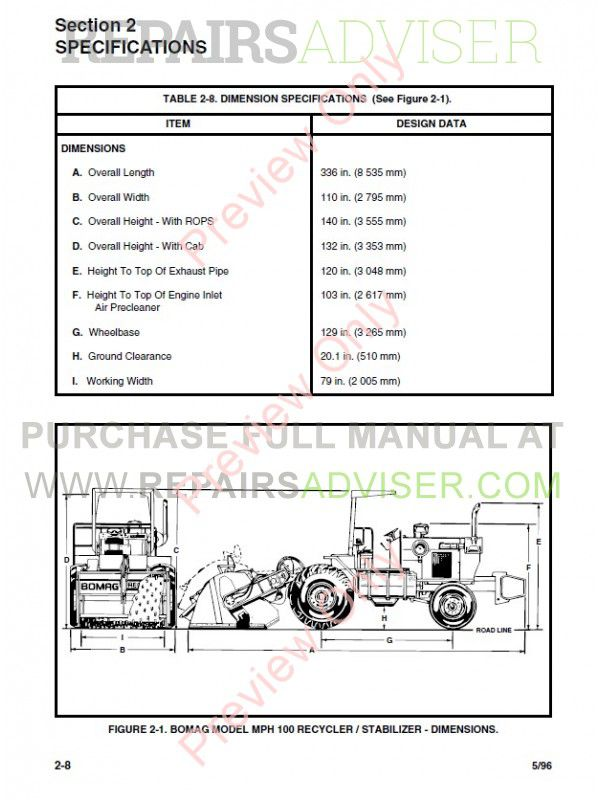 bomag mph100r mph100s recycler and stabilizer operation maintenance manual
