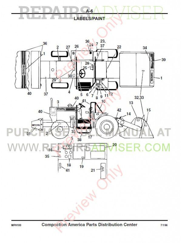Bomag MPH 100 R, MPH 100 S Recycler and Stabilizer Parts List + Instructions for Repair PDF, Manuals for Heavy Equip. by www.repairsadviser.com