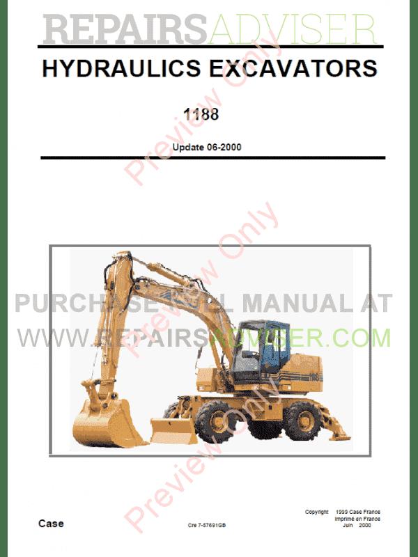 Case 1188 Hydraulics Excavators Schematic Set PDF