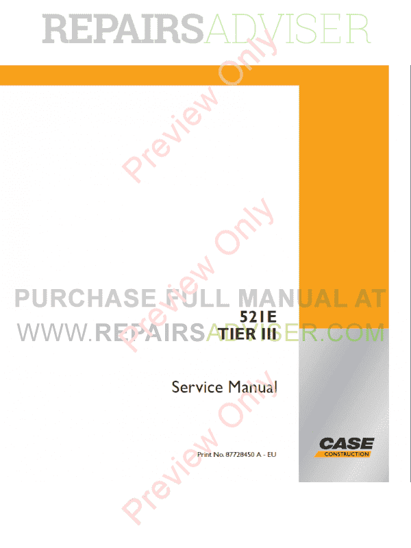 Case 521E Tier III Wheel Loader Service Manual PDF image #1