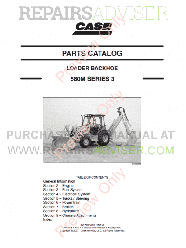 Case 580M Series 3 Loader Backhoe Parts Catalog PDF image #1