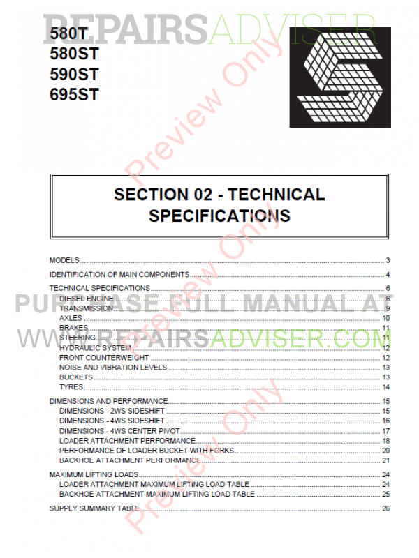 Case 580T, 580ST, 590ST, 695ST Backhoe Loaders Service Manual PDF, Case Manuals by www.repairsadviser.com