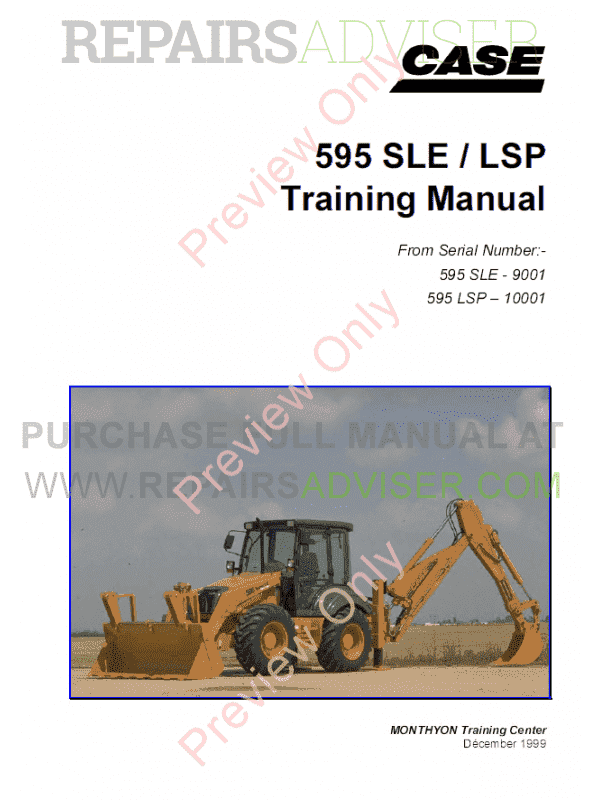 Case 595 SLE/LSP Backhoe Loaders Training Manual PDF image #1