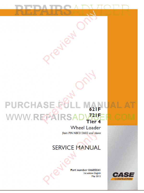 Case 621F, 721F Tier 4 Wheel Loaders Service And Operators Manuals PDF image #1