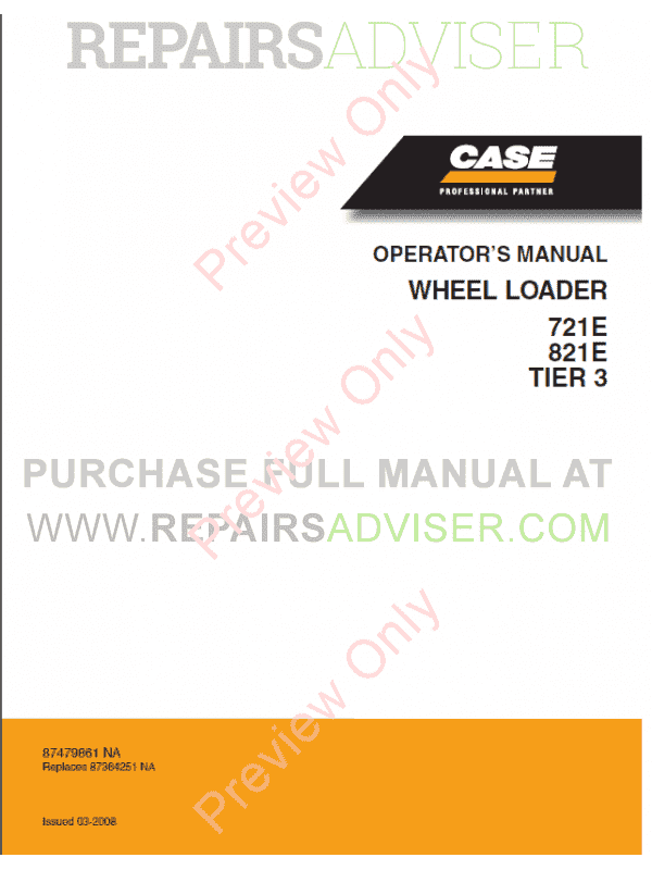 Case 721E, 821E Tier 3 Wheel Loader Operators And Service Manuals PDF image #1