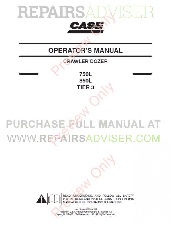 Case 750L/850L Tier 3 Crawler Dozers Operators And Repair Manuals PDF image #1
