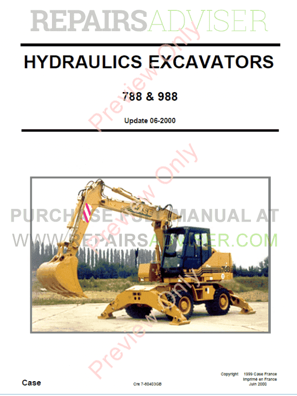 Case 788, 788 Plus, 988, 988 Plus Hydraulics Excavators Schematic Set PDF image #1