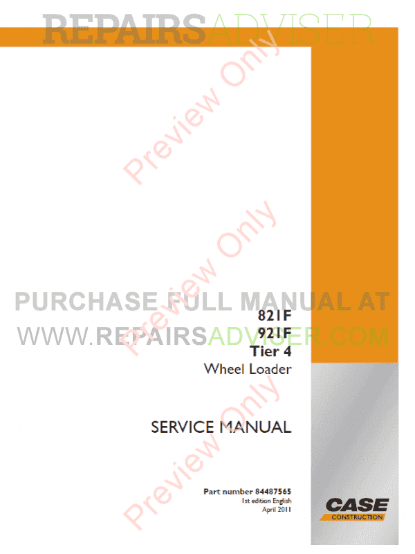 Case 821F, 921F Tier 4 Wheel Loaders Operators And Service Manuals PDF image #1