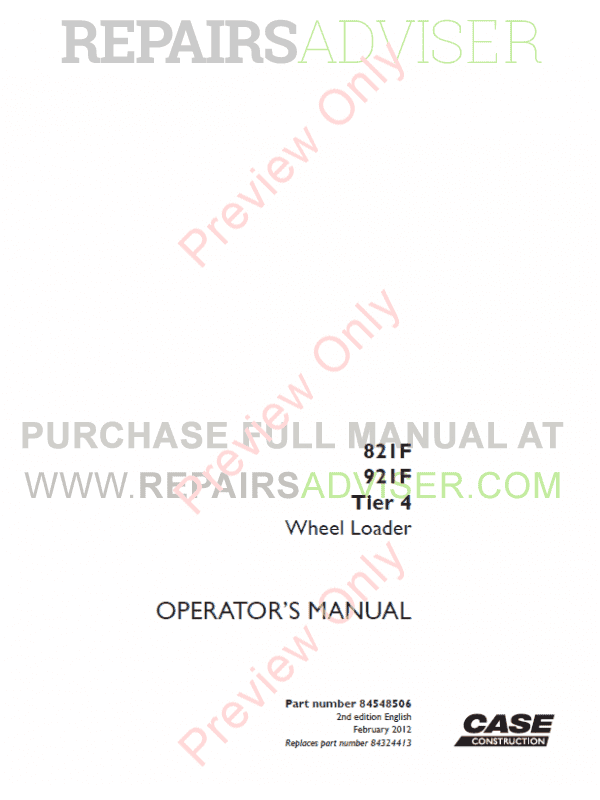 Case 821F, 921F Tier 4 Wheel Loaders Operators And Service Manuals PDF, Case Manuals by www.repairsadviser.com