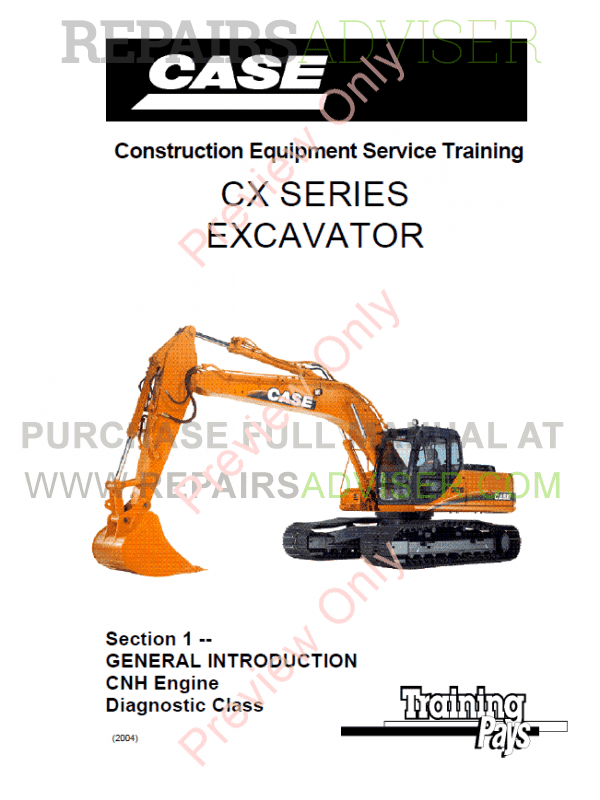 Case CX Series Excavators Service Training PDF Manual image #1